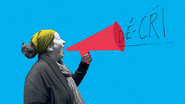 """Visuel de l'activité """"Dé-cri"""", l'intervention d'une crieuse publique à Nivelles"""